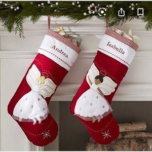 NWT pottery barn blonde angel Christmas stocking